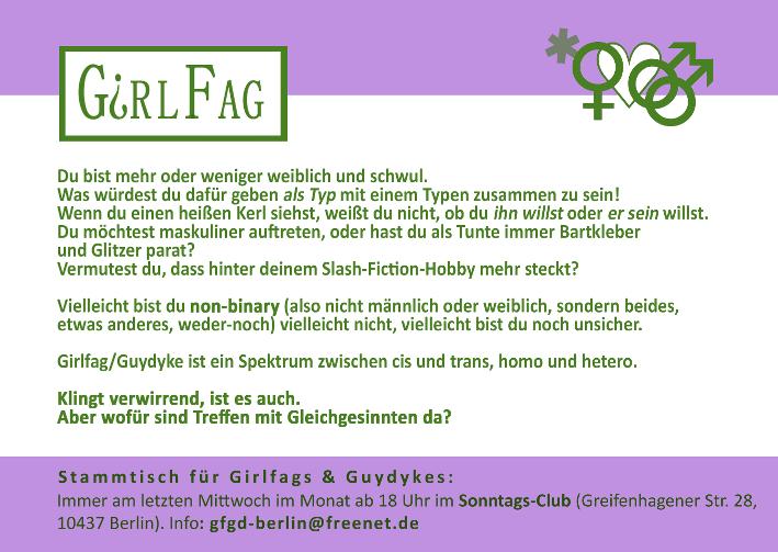 Girlfag, Flyer-Stammtisch